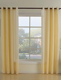 İki Panel Pencere Tedavi Neoklasik Oturma Odası Polyester Malzeme Şeffaf Perde Shades Ev dekorasyonu For pencere