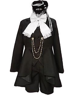 קיבל השראה מ Black Butler Ciel Phantomhive אנימה תחפושות קוספליי חליפות קוספליי טלאים שחור שרוולים ארוכיםמעיל / וסט / חולצה / מכנסיים