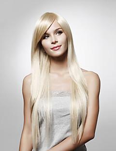 Capless långa raka högkvalitativa syntetiskt hår peruk flera färger