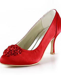 belas cetim baixos bombas salto com sapatos de cetim de flores mulheres casamento partido