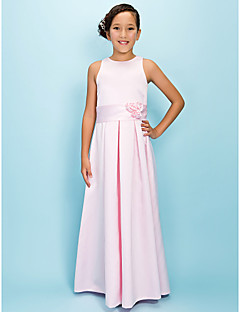 Floor-length Satin Junior Bridesmaid Dress - Blushing Pink A-line Jewel
