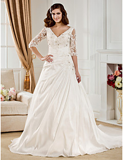LAN TING BRIDE Ball Gown Wedding Dress - Classic & Timeless See-Through Chapel Train V-neck Taffeta with Appliques Beading Ruche