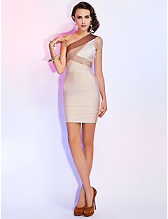TS Couture® Cocktail Party / Holiday Dress - Multi-color Petite Sheath/Column One Shoulder Short/Mini Rayon