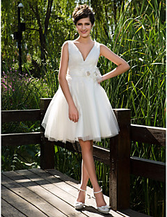 Lanting Ball Gown Plus Sizes Wedding Dress - Ivory Knee-length V-neck Tulle