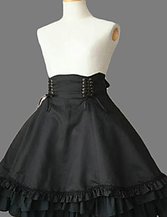 Knelang Black Cotton Gothic Lolita skjørt