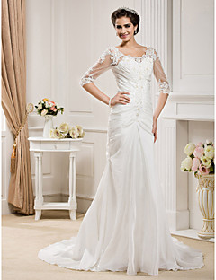 Lanting Trumpet/Mermaid Plus Sizes Wedding Dress - Ivory Chapel Train Scoop Taffeta