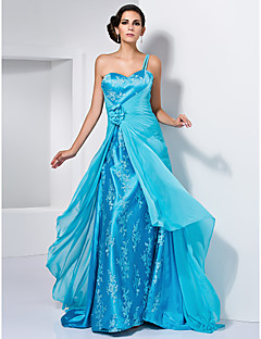 Prom/Formal Evening Dress - Pool Plus Sizes A-line/Princess One Shoulder/Sweetheart Sweep/Brush Train Chiffon/Stretch Satin