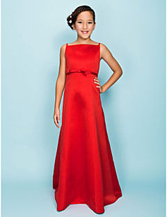 Floor-length Satin Junior Bridesmaid Dress A-line / Princess Spaghetti Straps Natural with Bow(s) / Sash / Ribbon