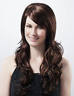 sin tapa extra larga sintética café oscuro europeo tejer peluca de pelo