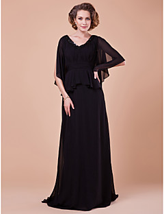 Lanting A-line Plus Sizes / Petite Mother of the Bride Dress - Black Sweep/Brush Train Half Sleeve Chiffon