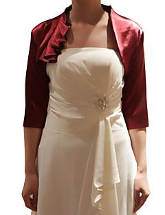 결혼식 랩 코트 / 재킷 3/4 길이 소매 사틴 블랙 / 샴페인 / 퓨샤 파티/이브닝 꽃 오픈 프론트