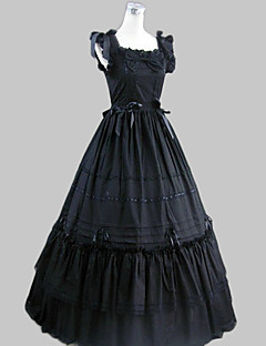 One-Piece/Dress Gothic Lolita Vintage Inspired Cosplay Lolita Dress Black Vintage Sleeveless Floor-length Dress For Women Cotton