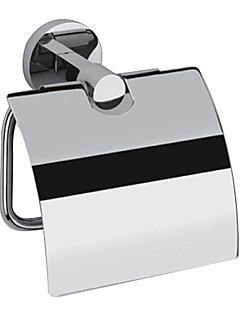 contemporâneo com acabamento cromado Latão de montagem na parede do rolo de prata titulares WC