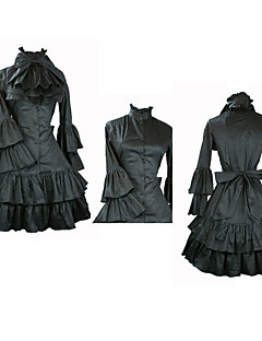 Met lange mouwen knie-lengte Black Satin Aristocrat Lolita Dress