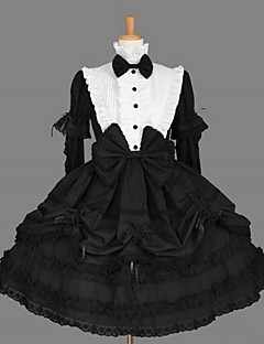 Long Sleeve Knee-length Black Cotton Classic School Lolita Dress with Cravat