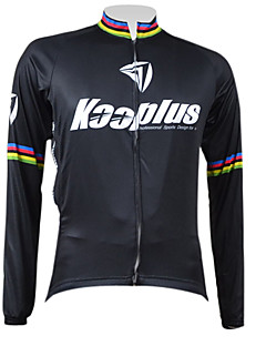 KOOPLUS® Cycling Jersey Men's Long Sleeve Bike Breathable / Thermal / Warm / Quick Dry / Front Zipper Jersey / Tops 100% Polyester Solid