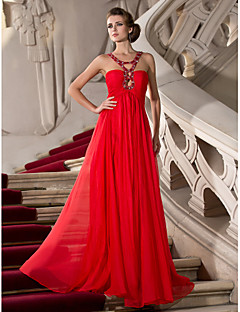 Formal Evening/Prom/Military Ball Dress - Ruby Plus Sizes Sheath/Column Straps Floor-length Chiffon