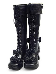 Lolita Shoes Sweet Lolita Handmade Flat Heel Shoes Solid 3 CM Black For Women PU Leather/Polyurethane Leather