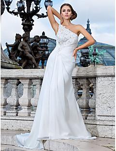 Lanting Bride® Tube / kolonne Petit / Plus Størrelser Brudekjole - Chic og moderne Forår 2013 Børsteslæb Etskuldret Chiffon med