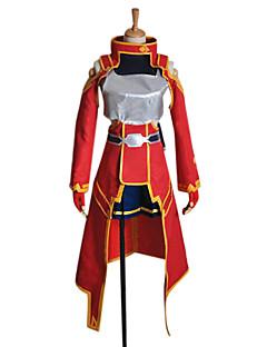 Inspirerad av Sword Art Online Silica Animé Cosplay Kostymer/Dräkter cosplay Suits Lappverk Röd Lång ärmKappa / Topp / Klänning /