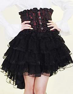 膝丈の黒と赤と白のコットンゴシックロリータスカート