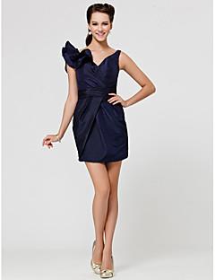 Brautjungfernkleid - Dunkelmarine Taft - Etui-Linie - mini - V-Ausschnitt Übergröße