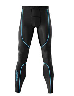 Santic Men's 200G Anti-Microbial Superfine Spandex Long Leggings with Blue Line Pattern