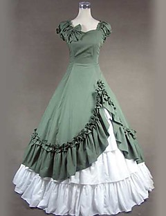 One-Piece/Dress Gothic Lolita Victorian Cosplay Lolita Dress White / Green Vintage Short Sleeve Floor-length Skirt / Dress / Petticoat For
