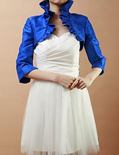 Wraps casamento Casacos / Jaquetas Meia Manga Tafetá Azul Royal Casamento / Festa Dobradas Aberto à Frente