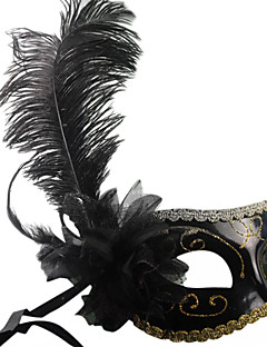 Klassische Feather and Flower Black PVC Urlaub Halbmaske