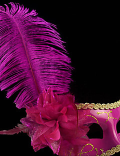 Classic Feather and Flower Fuschia PVC Holiday Half-face Mask