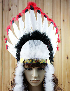 Indian Style Black and White and Red Feather Holiday Headpiece
