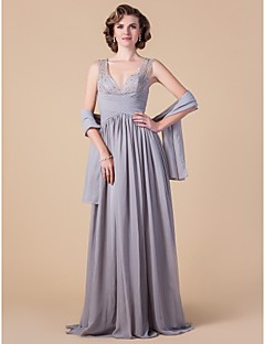 A-line Plus Sizes Mother of the Bride Dress - Silver Floor-length Sleeveless Chiffon
