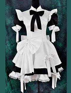 Lyhythihainen Polvipituinen Mustavalkoinen Satin Classic Lolita Maid Outfit with Bow