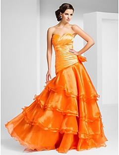 Prom/Formal Evening Dress - Orange A-line/Princess Strapless/Sweetheart Floor-length Organza