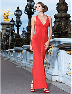 Cocktail Party/Formal Evening Dress - Ruby Sheath/Column V-neck Ankle-length Rayon