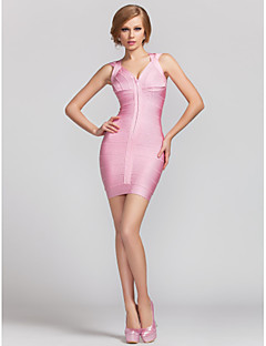 Vestito - Rosa chiaro Cocktail Tubino V Mini Raion