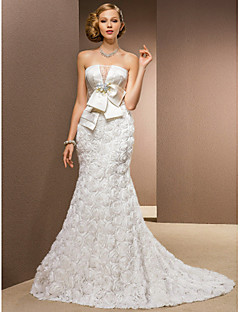 Lan Ting Trumpet/Mermaid Plus Sizes Wedding Dress - Ivory Chapel Train Strapless Chiffon/Satin/Tulle/Stretch Satin