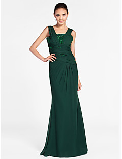 Formal Evening/Military Ball Dress - Dark Green Plus Sizes Sheath/Column Square/Straps Floor-length Chiffon