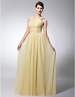 LAN TING BRIDE Floor-length Scoop Straps Bridesmaid Dress - Open Back Sleeveless Chiffon