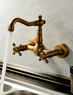 Antique / Traditional / Country Bar/­Prep Wall Mounted Waterfall with  Ceramic Valve Two Handles Two Holes for  Antique Brass , Kitchen
