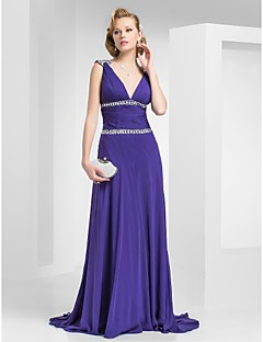 Formal Evening/Prom/Military Ball Dress - Regency Plus Sizes A-line/Princess V-neck Sweep/Brush Train Chiffon