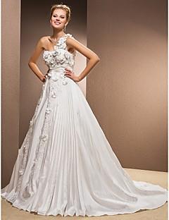 몸집이 작은 A 라인 신부 lanting / 플러스 웨딩 드레스 예배당 기차를 한 어깨 태 피터 크기