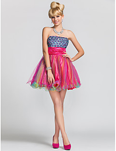 구슬로 장식을 가진 에이 라인 또는 끈이없는 짧은 / 미니 공단와 얇은 명주 그물 칵테일 / 파티 드레스