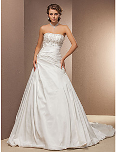 Lanting Bride® A-line Petite / Plus Sizes Wedding Dress - Classic & Timeless Spring 2013 Chapel Train Strapless Taffeta with