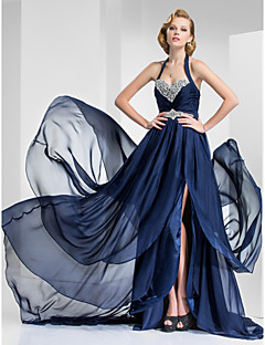 Formal Evening/Military Ball Dress - Dark Navy Plus Sizes A-line/Princess Halter/Sweetheart Court Train Satin Chiffon