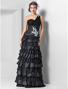 저녁 정장파티/밀리터리 볼 드레스 - 블랙 시스/컬럼 바닥 길이 원 숄더 명주그물/쉬폰 플러스 사이즈