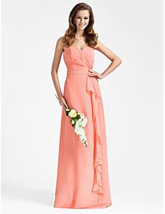 Lanting Bride® Longo Chiffon Vestido de Madrinha - Tubinho Tomara que Caia / Coração Tamanhos Grandes / Mignon comBabados / Drapeado