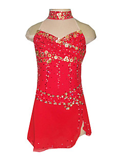 Dumb Light Spandex Elasticated Net Three-dimensional Sequined Flowers Strapless Figure Skating Clothing Red