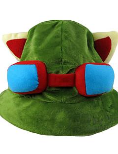 Καπέλο/Σκουφί Εμπνευσμένη από LOL Teemo Anime/ Βιντεοπαιχνίδια Αξεσουάρ για Στολές Ηρώων Καπακωτό / Καπέλο Πράσινο Πολική Προβιά Ανδρικά